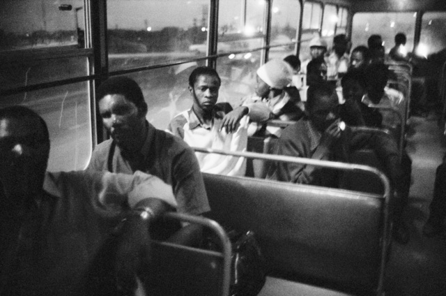 David Goldblatt, '7:00 p.m. Going home: Pulling out of Pretoria. The 7:00 p.m. bus from Marabastad to Waterval in KwaNdebele', 1983, Pace/MacGill Gallery