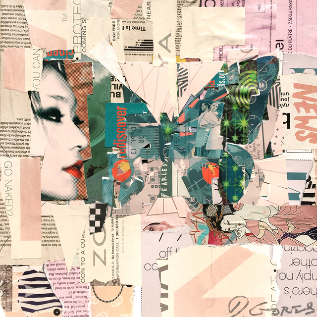 """Derek Gores, '""""Fly East"""" collage of a green butterfly with pink background', 2018, Eisenhauer Gallery"""