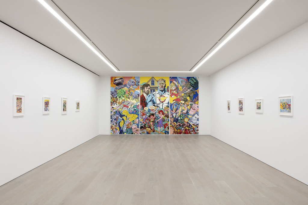 View of Erró's solo exhibition at Perrotin New York, 2020. Photographer: Guillaume Ziccarelli. Courtesy of the artist & Perrotin.