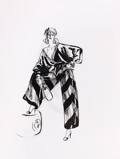 René Gruau, 'Pyjama du soir, Valentino', Drawing, Collage or other Work on Paper, Ink on paper, Alexis Pentcheff