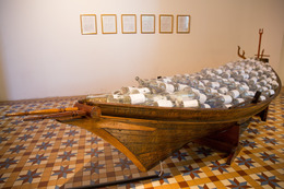Ahmad Abu Bakar, 'Telok Blangah', 2013, Installation, Installation with paint, varnish, glass bottles, decals, traditional wooden boat, Singapore Art Museum (SAM)