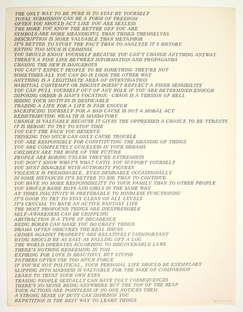 , 'Truisms,' 1978, Benjamin Ogilvy Projects