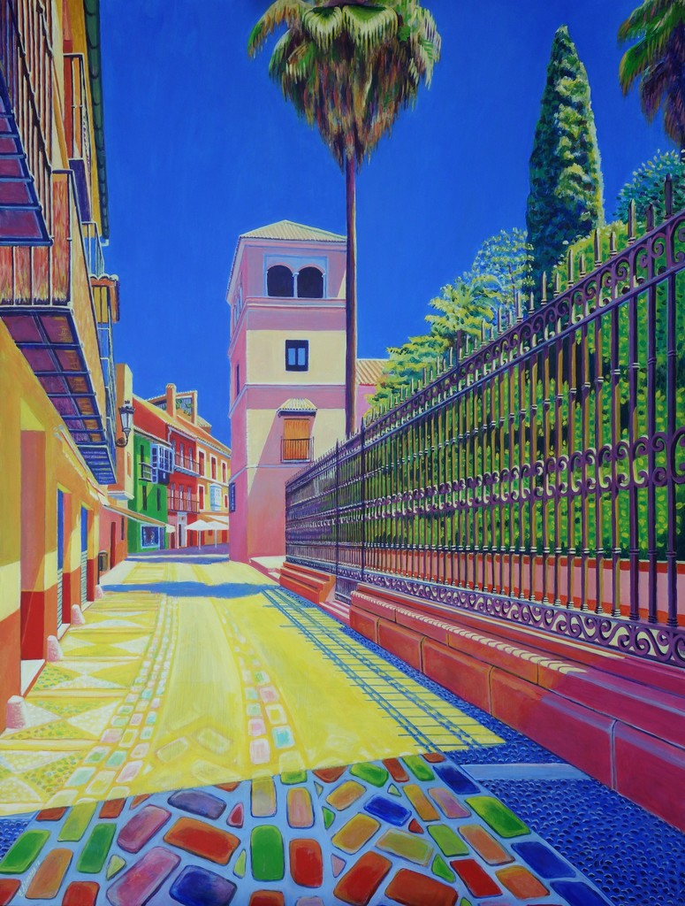 CONCHI ALVAREZ artist. HACIA LE MUSEO PICASSO (Towards the Picasso Museum-Malaga).  2018 . Acrylic on panel. 100 x 75 cm