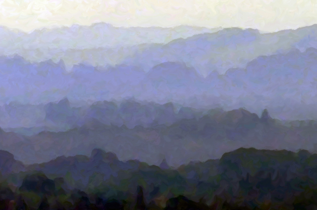 Larry Garmezy, 'Tuscan Morning - Impressionist landscape photography, Tuscany, Sienna, Italy, dawn with trees and hills in greens, purple and blue hues', 2014, Photography, Printed with Archival ink on Epson Somerset Velvet Paper. Designed for 18 x 24 mat and frame. Custom sizes available, Archway Gallery