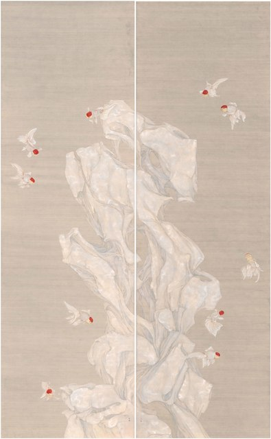 , 'Golden fish and literati rock,' 2016, Amy Li Gallery