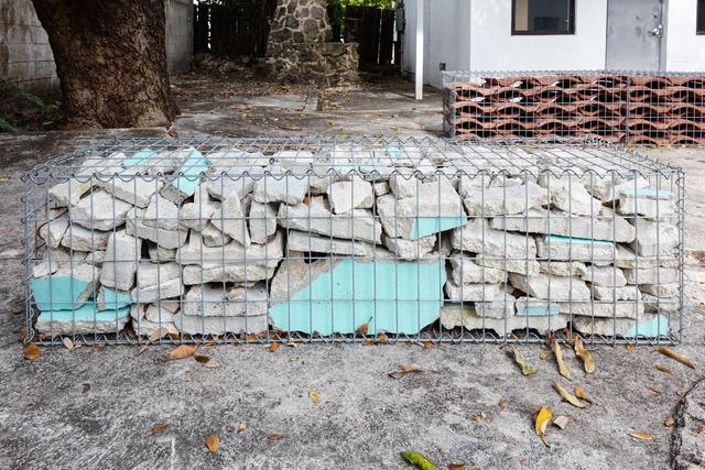 Tom Scicluna, '33155 (2)', 2021, Sculpture, Gabion cage and cinder blocks, Nina Johnson