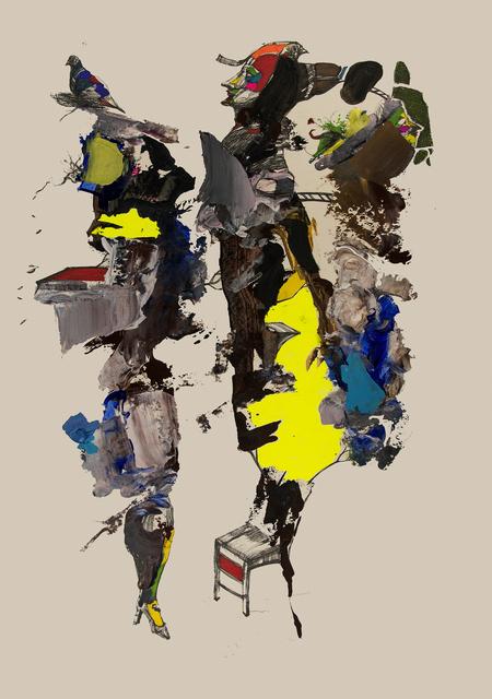 Frank David Valdés, 'Un loco enamorado /A madman in love', 2020, Painting, Mixed media on paper, ArteMorfosis - Cuban Art Platform
