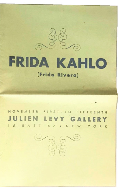 "Frida Kahlo, '""Frida Kahlo (Frida Rivera)"", 1938, RARE Exhibition Catalogue, Julien Levy Gallery NYC.', 1938, VINCE fine arts/ephemera"