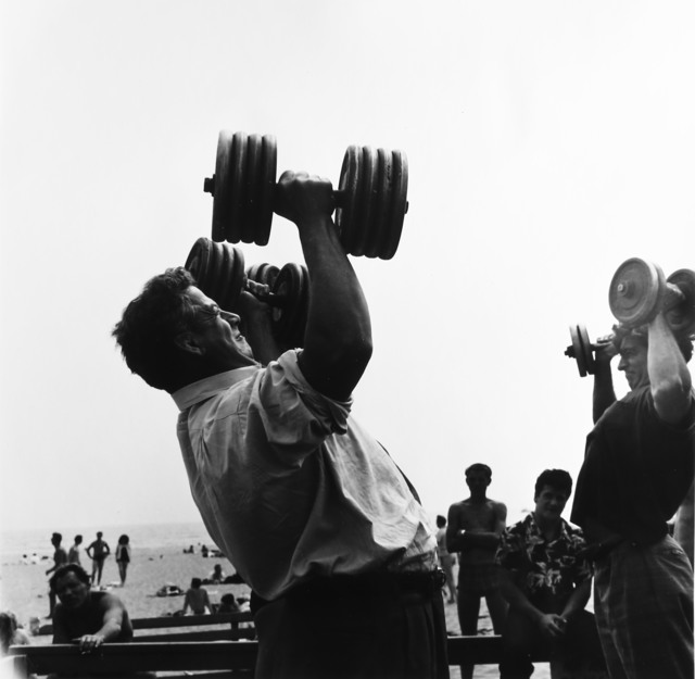 , 'Man with Dumb-bells, Muscle Beach, Santa Monica, CA,' 1954, Bruce Silverstein Gallery