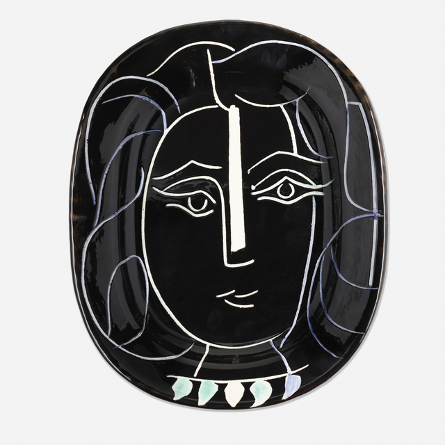 Pablo Picasso, 'Visage de Femme plate', 1953, Textile Arts, Glazed and partially incised earthenware with colored engobe, Rago/Wright