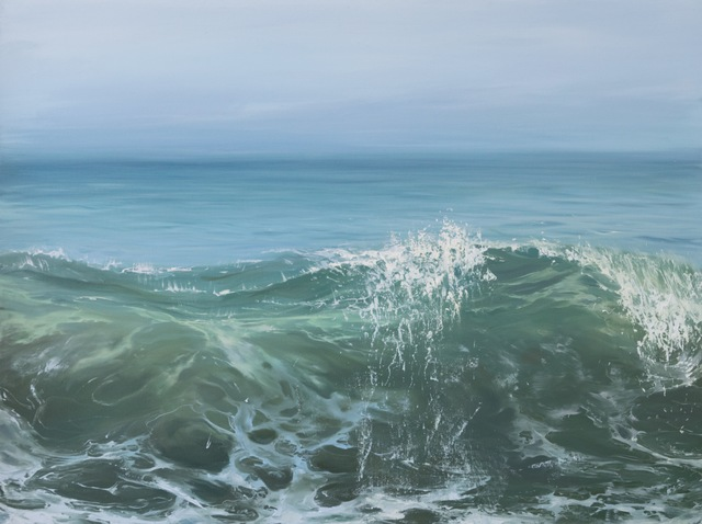 ", '""Morning Wave II"" oil painting of a cresting wave in green and blue ocean water,' 2010-2018, Eisenhauer Gallery"