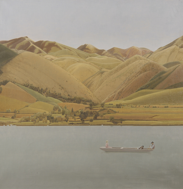 , 'Edge of Abruzzi; Boat with Three People on a Lake,' 1924-1930, Liss Llewellyn