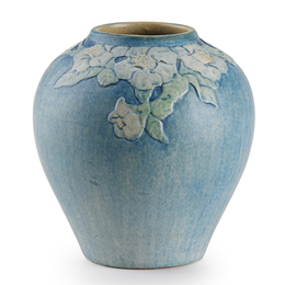 Newcomb College, Small Vase With Trumpet Flowers, New Orleans, LA