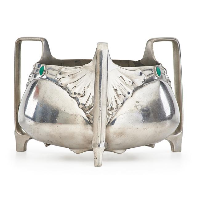 Friedrich Adler, 'Art Nouveau three-handled center bowl', Design/Decorative Art, Pewter, glass cabochons, Rago/Wright