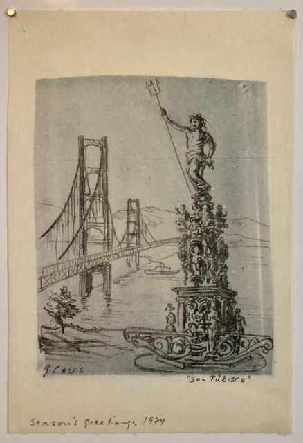 Gottfried Salzmann San Tubisco Season S Greetings Holiday Drawing Artwork Poseidon Trident Bridge 1970 1979 Available For Sale Artsy