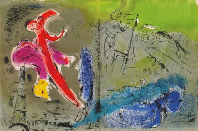 Marc Chagall, 'Vision de Paris II', 1952, Print, Colour lithograph, Hans den Hollander Prints