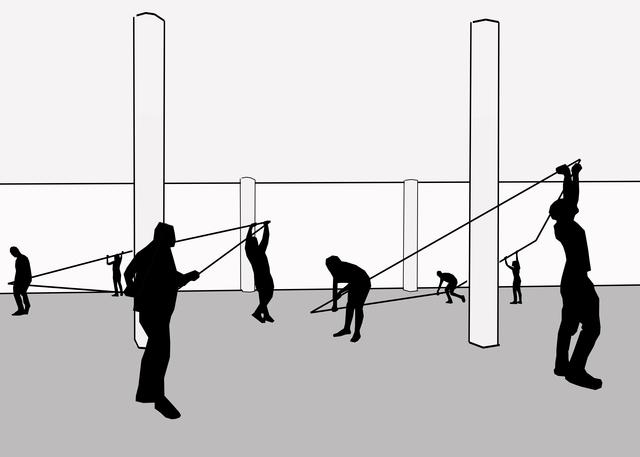 , 'Diptych (My studio around Thoreau's cabin around pillar and my studio around Kaczynski's cabin around pillar),' 2016, SPROVIERI