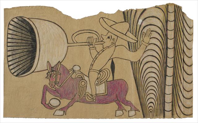 Martín Ramírez, 'Untitled (Horse and Rider with Bugle)', c. 1960-63, Robert Berman Gallery
