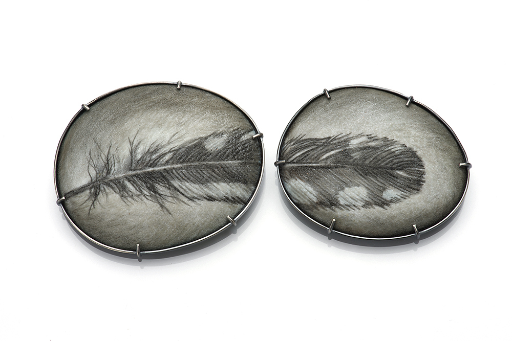 "Mi-Sook Hur, ""Speckled Feather 1&2,"" 2017, brooches, enamel on copper, sterling silver, stainless steel pin. Left Brooch: 1 7/8"" x 2 3/8"" x 1/4"". Right Brooch: 1 5/8"" x 2 1/8"" x 1/4"""