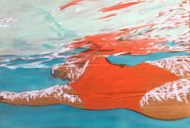 "Carol Bennett, '""August Suspense"" oil painting of a woman in a red swimsuit in a blue pool', 2017, Eisenhauer Gallery"