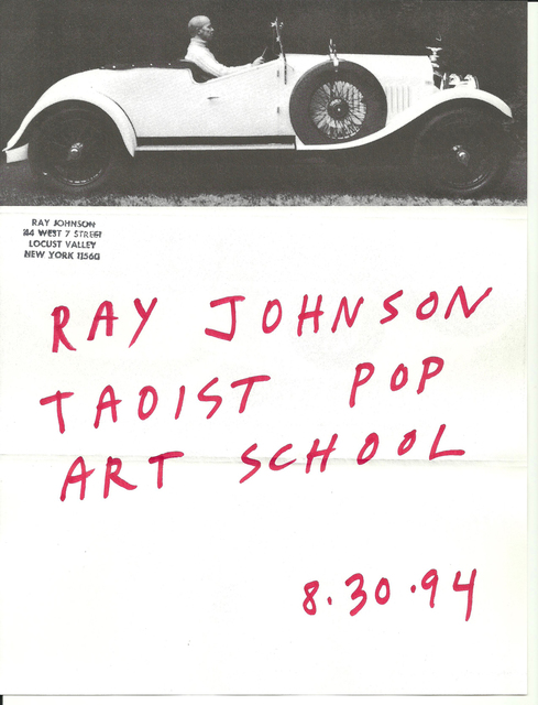 Ray Johnson, 'Mail Art + Ephemera, Dear Raphael Rubinstein at Art In America (Taoist Pop Art School, Car)', 1994, Drawing, Collage or other Work on Paper, Mixed media on paper, Pierogi
