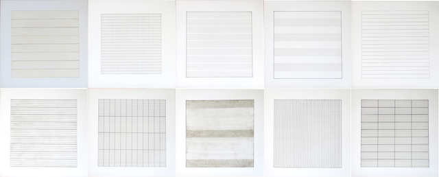 , 'Suite of 10 loose lithographs on vellum, Agnes Martin Paintings and Drawings 1974-1990, Stedelijk Museum,' 1991, Alternate Projects