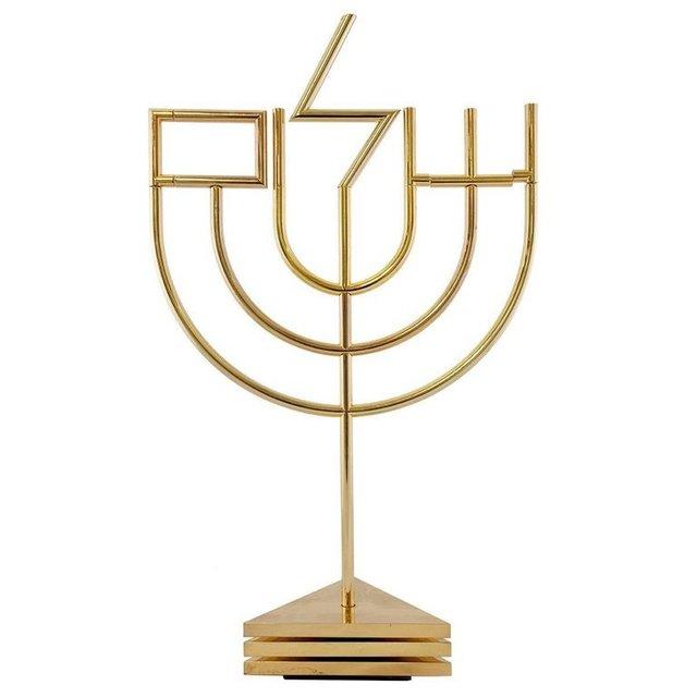 , 'Kinetic Op Art Sculpture Tri Base Shalom Menorah Hebrew Judaica,' 1980-1989, Lions Gallery