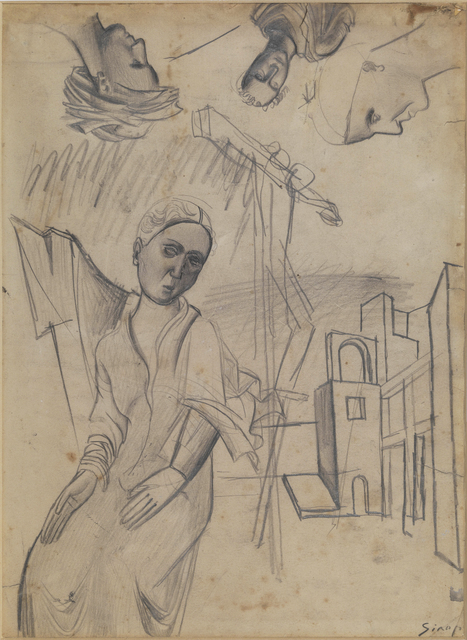 , 'Female figure, houses and studies of heads,' ca. 1919, Brun Fine Art