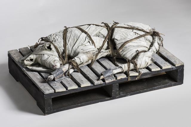 Elizabeth Jordan, 'Dog on wood palate with twine: 'Speak to Me'', 2016, Ivy Brown Gallery