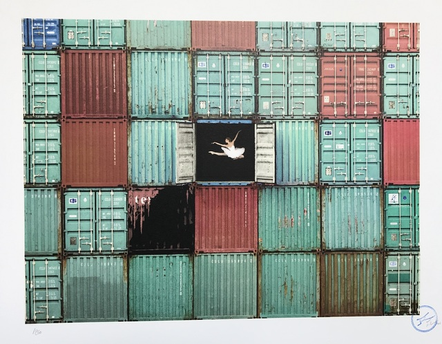 JR, 'The ballerina jumping in containers, Le Havre, France', 2014, Digard Auction