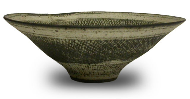 """Lucie Rie, 'Large Stoneware """"Knitted Bowl"""" with Special 'Mend'', ca. 1950, Jeffrey Spahn Gallery"""