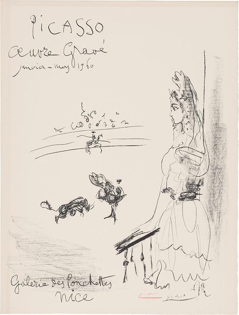 Pablo Picasso, 'Femme En Balcon, Affiche Oeuvre Gravé (B. 1289)', 1960, Print, Lithograph, on Arches paper, Doyle