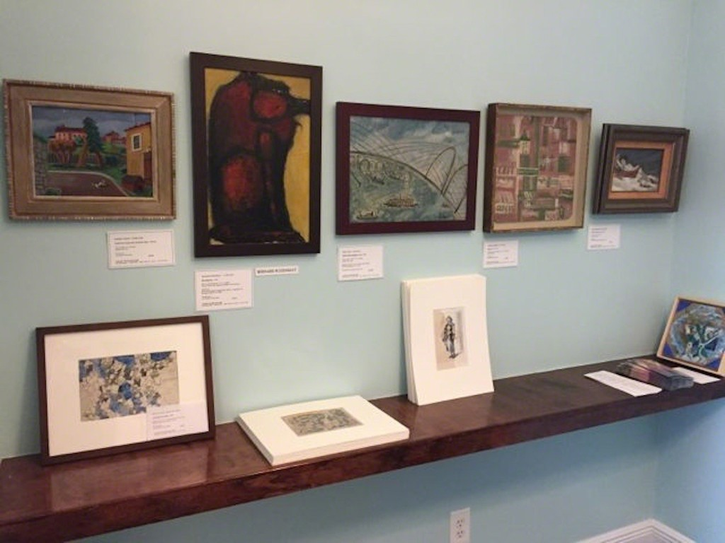 "This is the ""Dinette"" wall in 2016. Paintings, from let to right are by Angelo Pinto, Bernard Rosenquit, Anne Ryan, Fannie Hillsmith, and Alexander Brook. At the left on the ledge is a drawing by Peter Grippe."