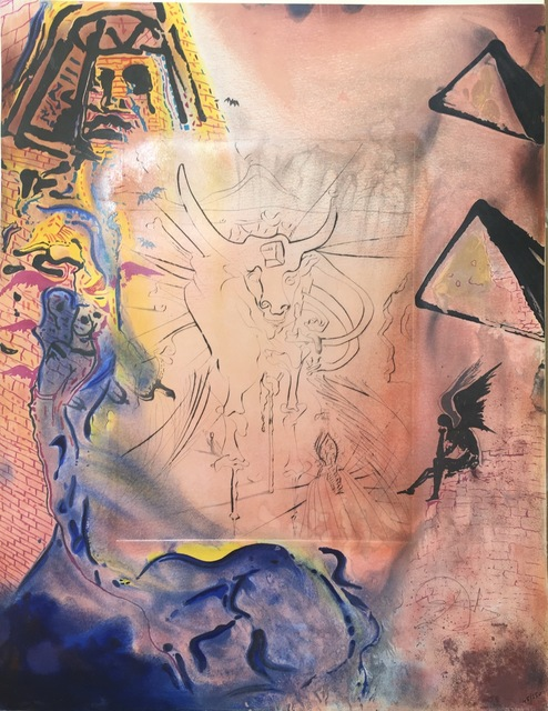 Salvador Dalí, 'Le reve de Moise (Dream of Moses)', 1975, Drawing, Collage or other Work on Paper, Lithograph + engraving on soft glove sheepskin, Dali Paris