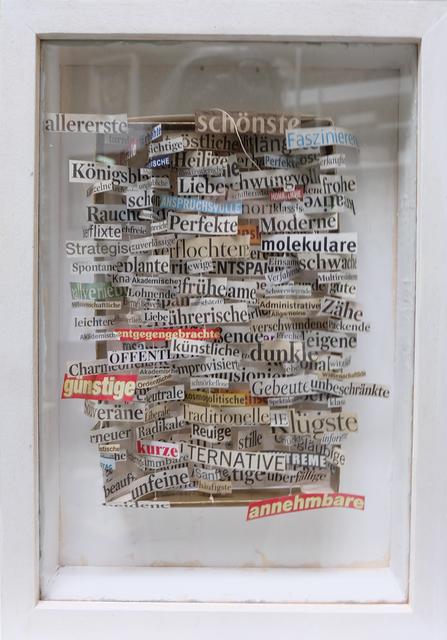 """, '""""Bescheidene"""" - Genmodellskizze für Traumfrau in Pralinenschachtel (Version V5),' 2015, Galerie Brigitte Schenk"""