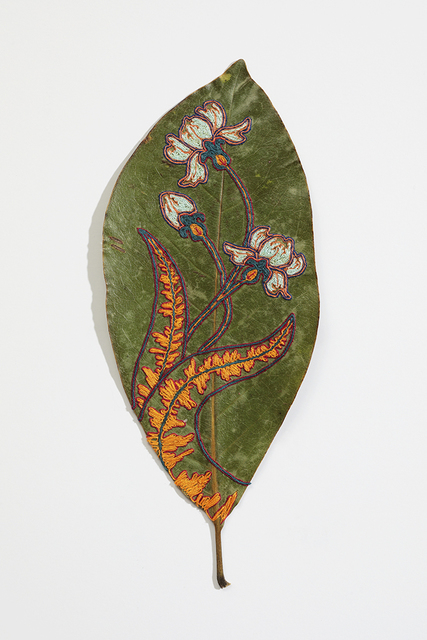 Hillary Waters Fayle, 'Blooms For Grace 4', 2020, Mixed Media, Embroidered magnolia leaf. Framed, Hashimoto Contemporary