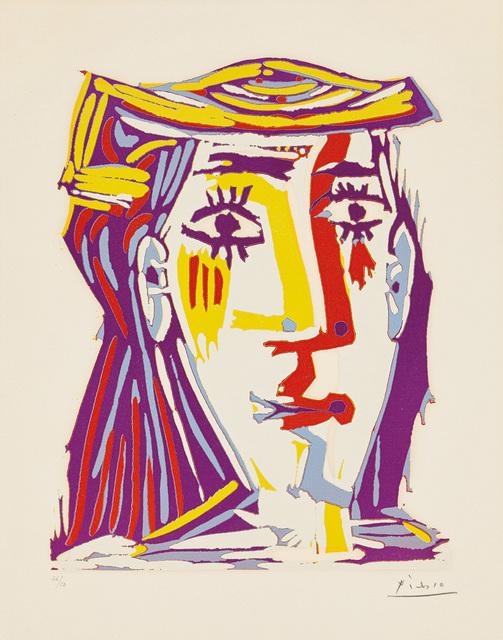 Pablo Picasso, 'Portrait de Jacqueline au chapeau de paille multicolore (Portrait of Jacqueline in a Multicoloured Straw Hat)', 1962, Print, Linocut in colours, on Arches paper, with full margins., Phillips
