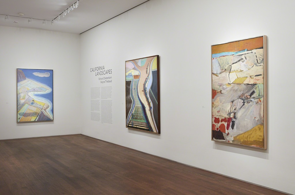 Left to Right: Wayne Thiebaud, Coastal Farms, 2008, Private Collection; Wayne Thiebaud, Brown River, 2002, Private Collection; Richard Diebenkorn, Berkeley #21, 1954, Private Collection; Photo by Kent Pell, Art © Wayne Thiebaud / Licensed by VAGA, New York, NY, Art © Richard Diebenkorn Foundation
