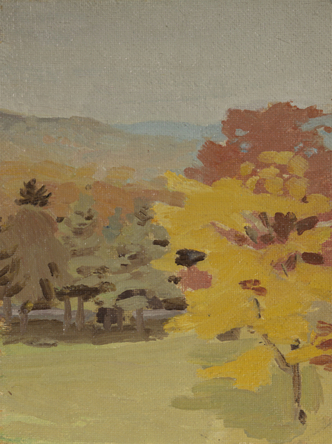 Fairfield Porter, 'Untitled (View of Pelham Hills with Tree, from Fayerweather Hall) (on verso: Still Life with Bottles)', 1969, Questroyal Fine Art