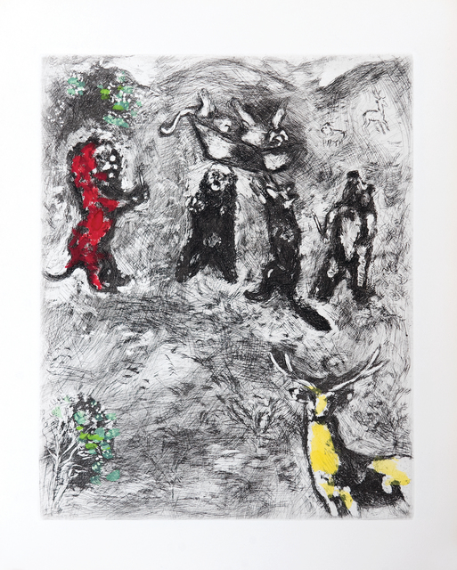 Marc Chagall, 'The Funeral of the Lioness', 1952, Print, Etching with hand colouring, Goldmark Gallery