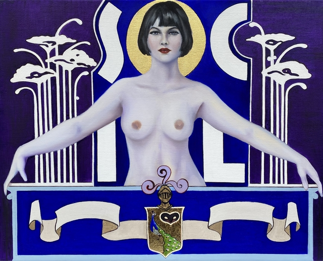 Andres Conde, 'SOCIAL Nude with Poppies', 2021, Painting, Oil and 23k Gold Leaf on Canvas, Conde Contemporary