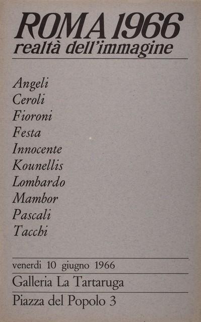 Various Artists, 'Roma 1966 realtà dell'immagine', 1966, Finarte
