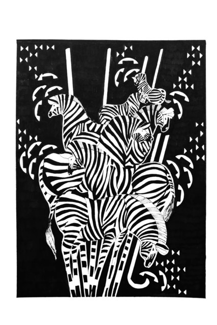 Chourouk Hriech, 'Animals #3', 2019, Drawing, Collage or other Work on Paper, Indian ink on paper, L'Atelier 21