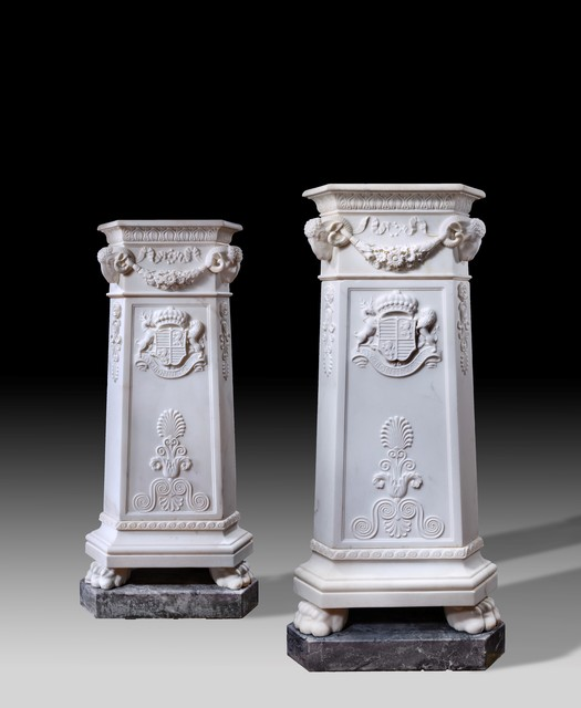 , 'Pair of Neo-classical carved marble pedestals,' ca. 1825, Thomas Coulborn & Sons