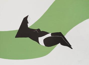 Reclining Figure on Green Wave