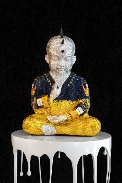 """, 'PUNKBUDDHA """"CHANEL No.5"""" in blue and yellow IV feat. WARHOL,' 2018, Galerie de Bellefeuille"""