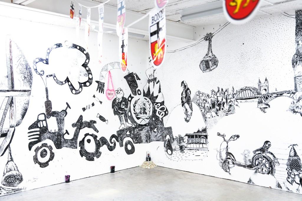 "exhibition view: ""Dat Maache me us de Lameng"", installation by Christoph Mügge (Malmö, Sweden) and Sebastian Mügge (Umea, Sweden) – wall drawings by Sebastian Mügge"