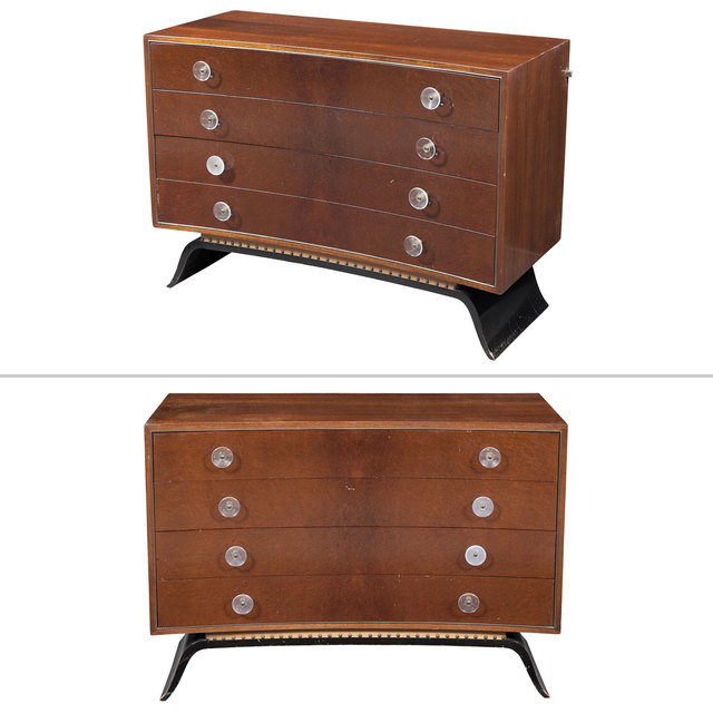 'Pair of Gilbert Rohde Part Ebonized Sequoia Burlwood and Rosewood Chest of Drawers, Herman Miller, model 3920', circa 1940, Doyle