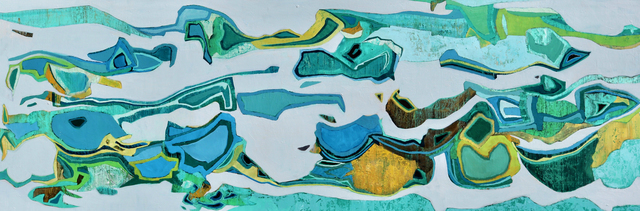 ", '""Sea of Cortez"" Abstract oil painting in greens, turquoise, grey and yellow,' 2019, Eisenhauer Gallery"