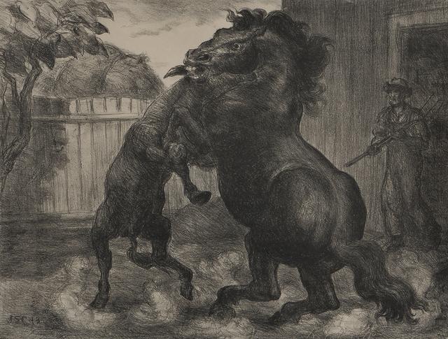John Steuart Curry, 'Stallion and Jack Fighting', 1943, Skinner
